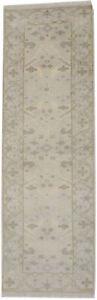 Hand-Knotted Oriental Runner Rug 3X8 Floral Design Oushak Kitchen Hallway Carpet