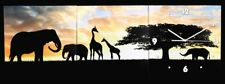Horloge murale 3tlg - Eléphants et girafes - IMAGE décoration montre Motif