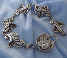 Victorian Style Sterling Repousse Bracelet Custom AK Clasp, Konder #338