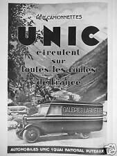 PUBLICITÉ 1931 LES CAMIONNETTES UNIC CIRCULENT SUR TOUTES LES ROUTES DE FRANCE