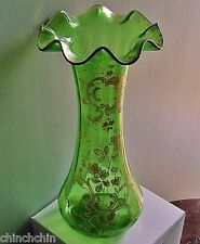 ALLURING Art Nouveau GLASS VASE Joyous HAND PAINTED Tall ROCOCO Gilded Floriform