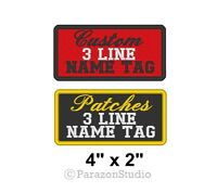 "Custom Embroidered Name Tag Sew on Patch Biker Outlaw 3 Lines Badge 4"" x 2"" (A)"