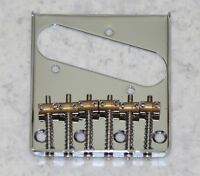 Vintage 6 brass saddle telecaster bridge chrome with 6 saddles for Tele