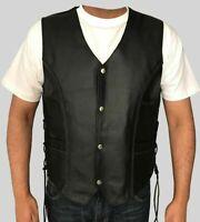 Mens Leather Motorcycle Waistcoat Biker Vest Club Vest Black Cowhide Leather