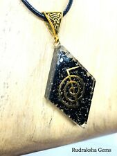 BLACK TOURMALINE STONE ORGONE PROTECTION PENDANT POWERFUL REIKI ENERGY NECKLACE
