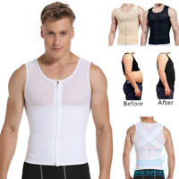 US Mens Slimming Body Shaper Vest Control Moobs Chest Tank Top Compression Shirt