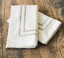 Pair Pottery Barn Pearl Embroidered Sand Statin Stitch Dots Std Pillow Shams EUC