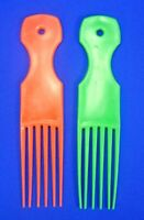 Vintage Hair Pick/Lift  Set Of Two Green & Red