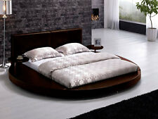 Brown Round Bed w Nightstands Platform Contemporary Circle Modern Design T009