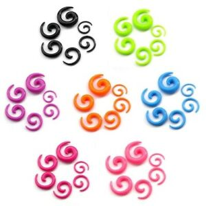 Acrylic Black Plastic Ear Taper Spiral Expander Stretcher, Choose Size & Colour