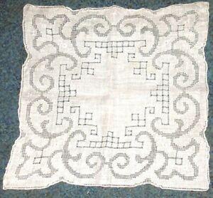 Vintage Madeira Wedding Hand Embroidered Pulled Thread Handkerchief   lot # 4