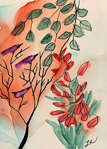 "ACEO Original garden flowers Birds shimmery painting by Lynne Kohler 2.5x3.5"""