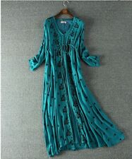 S M L STUNNING EMBROIDERED TEA MAXI DRESS GYPSY EVENING SUMMER TO FALL FASHION