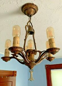 Antique Chandelier Early 20th C Snuffer top Cast pot metal. RARE WOW!!