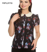 Hell Bunny Shirt Top Alice in Wonderland Blouse DRINK ME Roses All Sizes