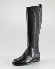 "YSL Yves Saint Laurent $2.3K FUR LINED Black ""Hyde"" Riding Flat Boots 36IT/6US"