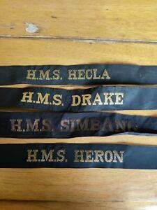 4 x Royal Navy Cap Tallies H.M.S Heron Drake Hecla Simbang