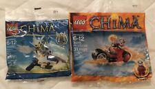 LEGO Chima 30250 Ewar's Acro Fighter & 30265 Worriz Fire Bike New/Sealed Polybag