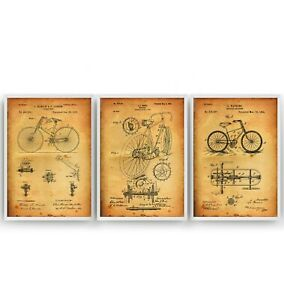 Bicycle Set Of 3 Patent Prints - Poster Cycling Wall Art Bike Gift - Unframed