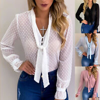 Womens Sheer Lace See-through Long Sleeve Shirt Summer Blouse Tee Tops Plus Size