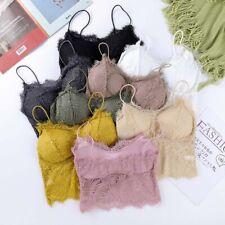 Women Strappy Lace Bralette Bra Bustier Crop Padded Tops Cami Vest Tank UK