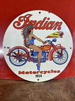 1934 VINTAGE ''INDIAN MOTORCYCLE'' GAS & OIL PUMP PLATE PORCELAIN SIGN 12 INCH