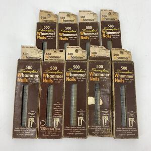 """Swingline Whammer Nails Brad Type Med Dark Wood Tone 9 Packs of 500 1 1/32"""" Vtg"""