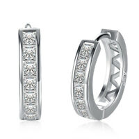 Earrings 18K White Gold Plated Cubic Zirconia Round Hoop For Women Teen Girls