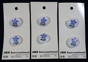 "Vtg 1980s JHB International CARDED Novelty Glass BUTTONS Blue Flowers 3/4"""