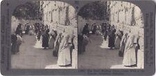 Mur des Lamentations Jerusalem Israël Photo Stereo Vintage Argentique