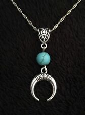 Crescent Moon Necklace Bull Horn Charm Turquoise Spear Native American Indian