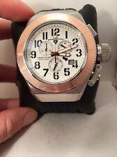 Swiss Legend Trimix Diver 2.0 Chrono Black Silicone Wht Dial Rose-Tone Watch-H54