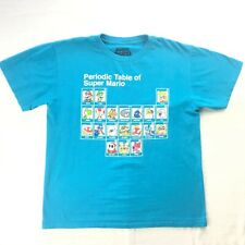 Nintendo Super Mario Periodic Table Graphic Blue T-Shirt Youth Large