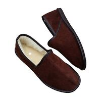 Men's Sheepskin Slippers Wool Brown Suede Shoes Size 6.5 - 11 Full Moccasins