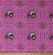 John Deere Bandana Tractor Tractors Pink Flowers 100% cotton Fabric by the yard