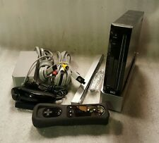 Nintendo Wii Black Video Game System Console Bundle Gamecube Compatible RVL-001