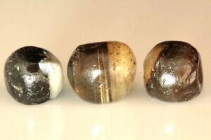 3 Tibetan Ancient Beads Agate Banded Chung Dzi Beads Sulimani Beads