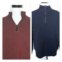 Age Of Wisdom Mens Reversible Sweater Blue Wine 1/4 Zip Pullover Long Sleeve XL