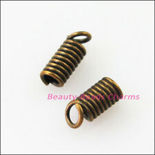 70Pcs Coil End Crimp Necklace Fastener Connector 3x6mm Gold Silver Bronze Plated