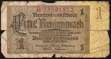 1937 Germany 1 Rentenmark Banknote * B 73591872 * Good * P-173 *