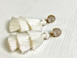Tassel Earrings White Thread Layered w Druzy Accents Gold & White Dangle Drop 3""