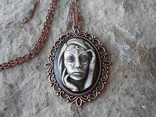 ZOMBIE WOMAN, GYPSY, TATTOO HAND PAINTED CAMEO COPPER PENDANT NECKLACE - GOTH