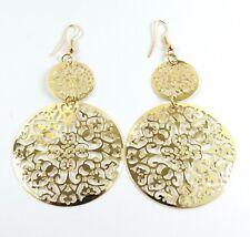Women's Large Round disc Gold Hook Long Drop Dangle Earrings