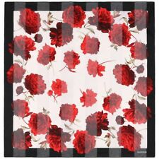 VALENTINO Black & White Red Rose Floral Print Striped Semi Sheer Silk Scarf