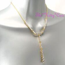 Vintage Deco Hollywood Celebrity Glamour 14kpl Gold Necklace w Swarovski Crystal
