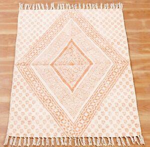 Hand Block Printed Cotton Dhurrie Boho Floor Rug Throw Kilim Area Rug 4x6 5x8