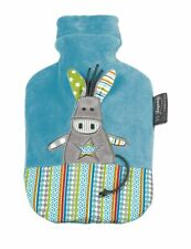 Childs Boys Girls Small Fashy Hot Water Bottle & Cover 0.8l Blue Donkey