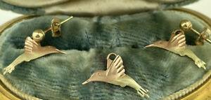 Black Hills Pink & Green 10K Gold Hummingbird Dangle Drop Earring & Pendant set