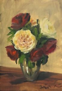 Original oil painting art floral vintage style shabby chic vase of red roses