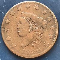 1820 Large Cent Coronet Head One Cent 1c Better Grade #9080